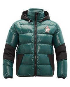 Hooded quilted down ski jacket