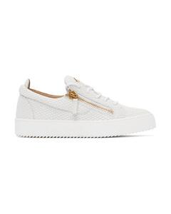 白色Frankie鳄鱼纹运动鞋