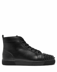 Lou spike-embellished leather high-top trainers