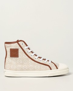 high top sneakers in fabric with jacquard anagram