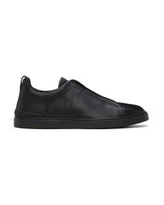 黑色Triple Stitch鹿皮运动鞋