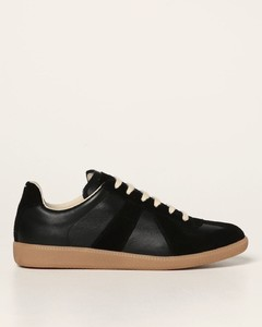 Replica sneakers in leather and suede
