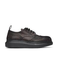 黑色Hybrid泼漆布洛克鞋