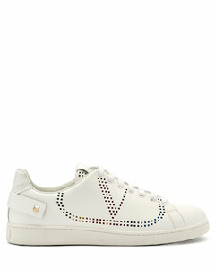 Backnet perforated-logo leather trainers