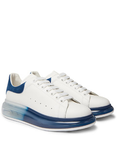 Exaggerated-Sole Suede-Trimmed Leather Sneakers