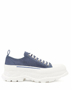 Tread Slick chunky-sole denim trainers