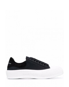Black/white cotton canvas deck lace-up plimsoll sneakers