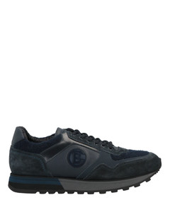 Leather-Trimmed Stretch-Knit Sneakers