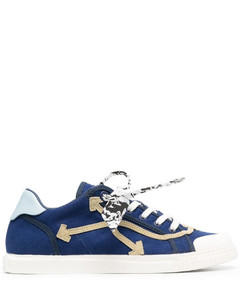 Flame Leather-Appliquéd Canvas Slip-On Sneakers