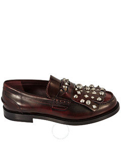 Stud Detail Kiltie Fringe Leather Loafers