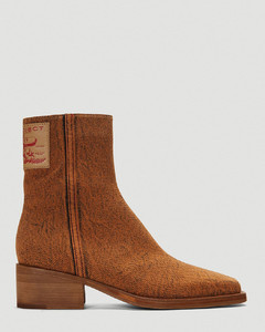 Denim Ankle Boots in Brown