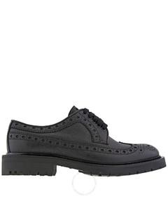 Black Grainy Leather Brogue Detail Derby Shoes