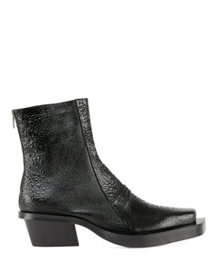 Leather Toad Print Leone Boot - Black
