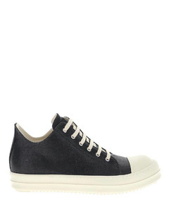 Black/white cotton/leather contrasting toe-cap sneakers
