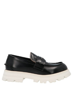 White leather sneakers with blue leather heel