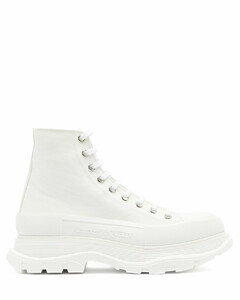 Chunky-sole high-top canvas trainers