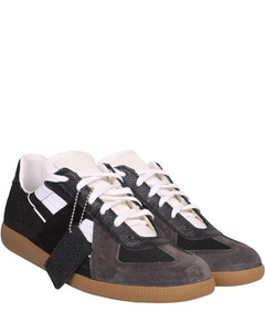 Replica Suede And Leather Sneakers Multi Colour: BLACK