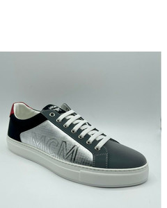 Exaggerated-Sole Rubber-Trimmed Leather Sneakers