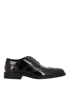 derby in brushed leather with dovetail brogue motif