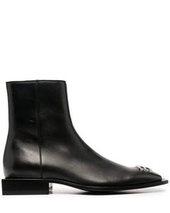 Flat Rim Zipped Boots Black