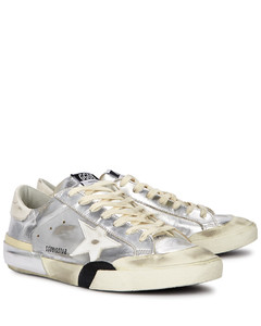 Superstar silver distressed leather sneakers