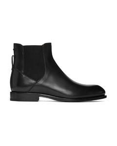 黑色缝线切尔西靴