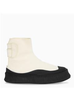 Beige/black canvas boots