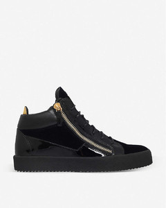 Kriss velvet and patent leather trainers