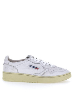 White leather low-top sneaers