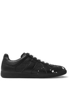 Replica Paint-Splattered Full-Grain Leather Sneakers