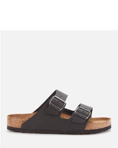Men's Arizona Oiled Leather Double Strap Sandals - Black