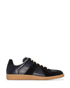 Dark navy blue/black calf leather panelled lace-up sneakers