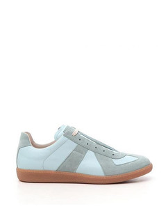 Aqua green leather/canvas replica low-top sneakers from maison margiela