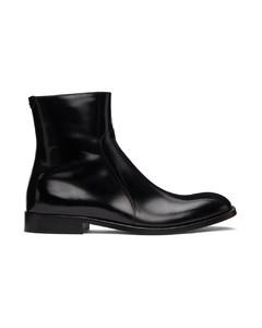 黑色拉链踝靴