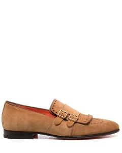 Toe-cap leather derby shoes