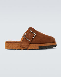 Comfort backless suede slippers