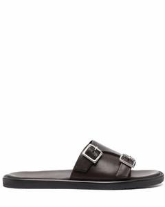 Myles Brando Leather Double Strap Sandals - Black
