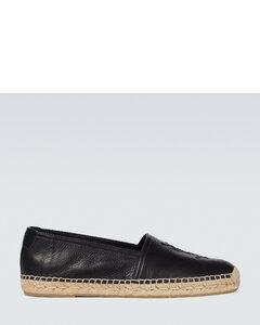 字母组合皮革草编鞋
