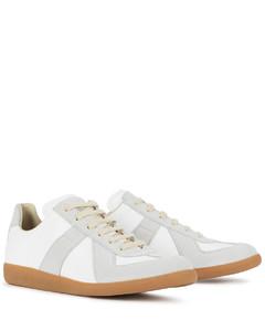 Replica white leather sneakers