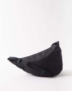 Leather-trim nylon cross-body bag