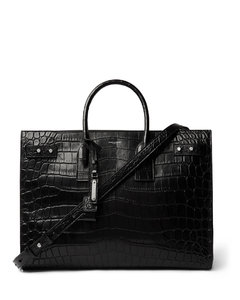 Croc-Effect Leather Tote Bag