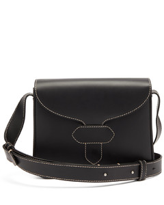 Topstitched leather cross-body bag