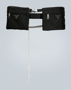 Nylon and Saffiano leather belt bag