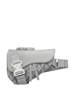 Logo-Print Leather Messenger Bag