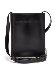 Logo-embroidered leather cross-body bag