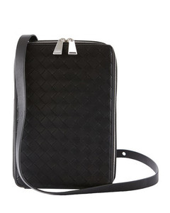 Black Woven Leather Hi-tech Bag