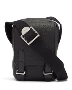Military grained-leather cross-body bag