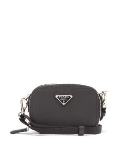Logo-plaque Saffiano-leather cross-body bag