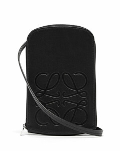 Anagram-logo leather neck pouch