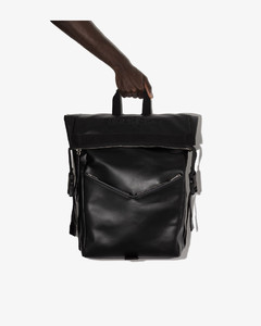 black downtown leather backpack